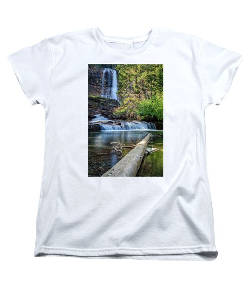 Glacier National Park Waterfall 3 Women's T-Shirt (Standard Cut) by Andres Leon