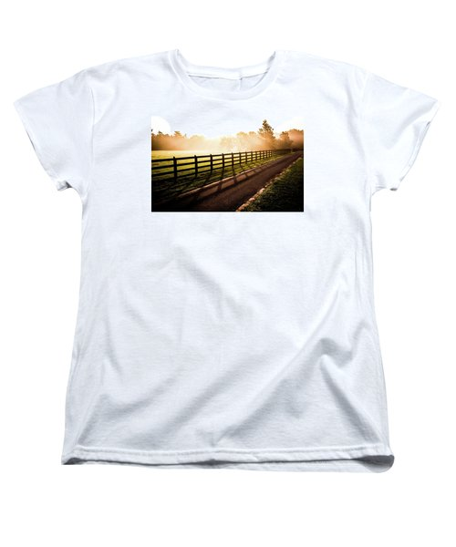 Women's T-Shirt (Standard Cut) featuring the photograph Glowing Fog At Sunrise by Shelby Young