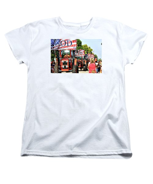 Women's T-Shirt (Standard Cut) featuring the photograph God Bless America And Farmers by Toni Hopper