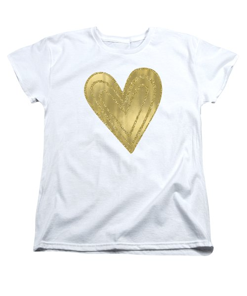 Gold Glam Heart Women's T-Shirt (Standard Cut) by P S