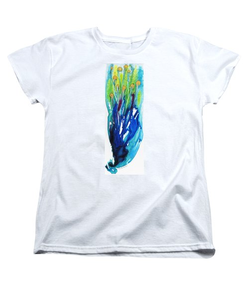 Women's T-Shirt (Standard Cut) featuring the painting Gold Nuggets And Blue by Joan Hartenstein