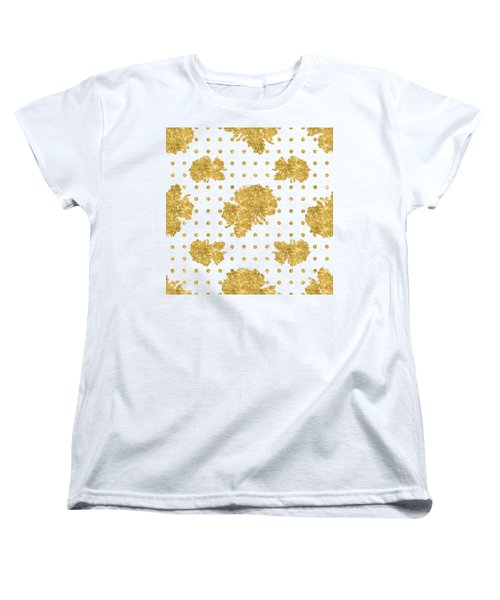 Women's T-Shirt (Standard Cut) featuring the painting Golden Gold Blush Pink Floral Rose Cluster W Dot Bedding Home Decor by Audrey Jeanne Roberts