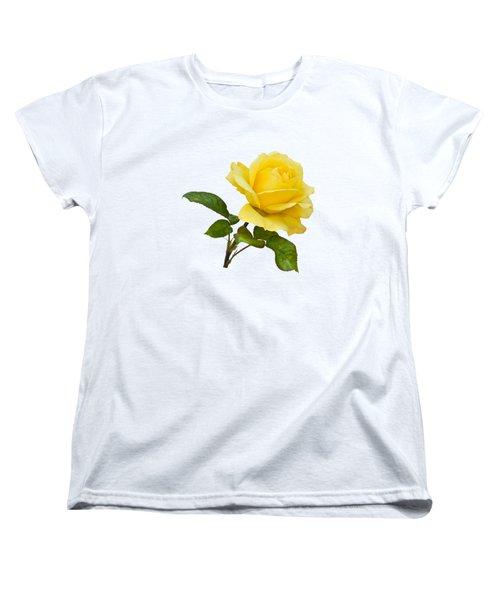 Golden Yellow Rose Women's T-Shirt (Standard Cut) by Jane McIlroy