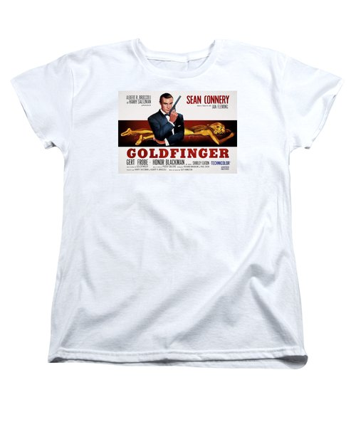 Goldfinger James Bond French Lobby Poster Painterly Women's T-Shirt (Standard Cut) by Daniel Hagerman