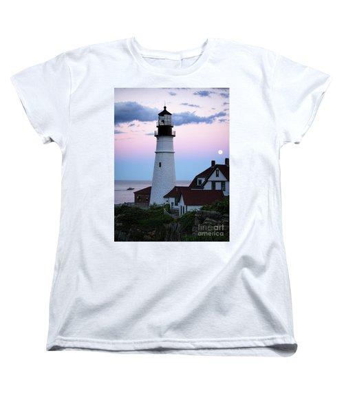 Women's T-Shirt (Standard Cut) featuring the photograph Goodnight Moon, Goodnight Lighthouse  -98588 by John Bald