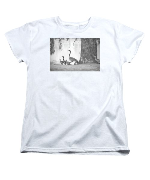 Women's T-Shirt (Standard Cut) featuring the photograph Goose Family  by Clarice Lakota