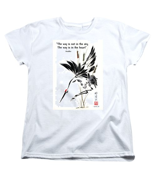 Women's T-Shirt (Standard Cut) featuring the painting Grace Of Descent With Buddha Quote I by Bill Searle