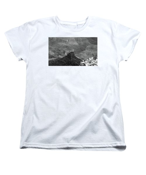 Women's T-Shirt (Standard Cut) featuring the photograph Grand Canyon 4 In Black And White by Debby Pueschel
