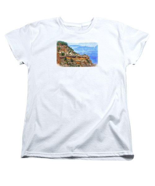 Women's T-Shirt (Standard Cut) featuring the digital art Grand Canyon Overlook Sketched by Kirt Tisdale