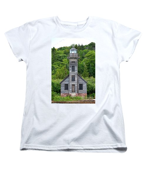 Women's T-Shirt (Standard Cut) featuring the photograph Grand Island East Channel Lighthouse #6672 by Mark J Seefeldt