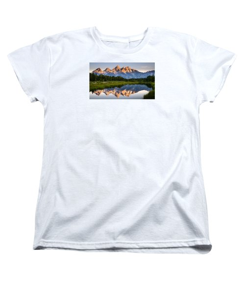 Women's T-Shirt (Standard Cut) featuring the photograph Grand Teton Awakening by Dan Mihai