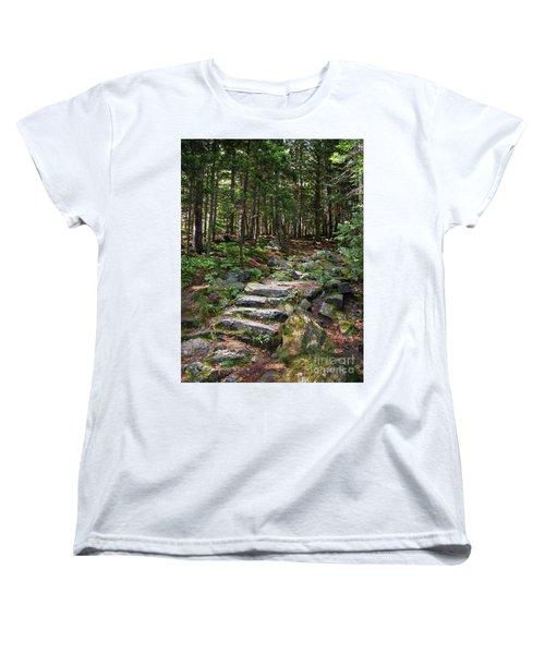 Granite Steps, Camden Hills State Park, Camden, Maine -43933 Women's T-Shirt (Standard Cut) by John Bald