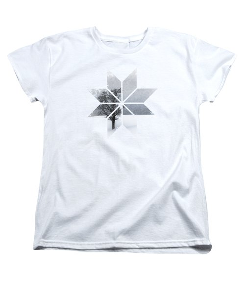 Graphic Art Snowflake Lonely Tree Women's T-Shirt (Standard Cut) by Melanie Viola
