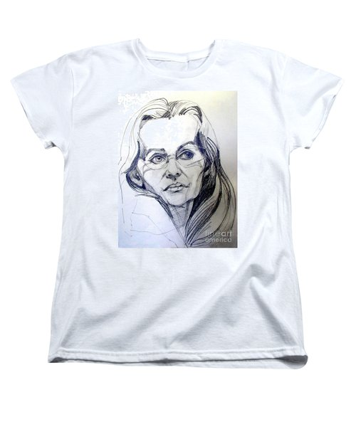 Women's T-Shirt (Standard Cut) featuring the drawing Graphite Portrait Sketch Of A Woman With Glasses by Greta Corens