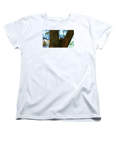 Women's T-Shirt (Standard Cut) featuring the photograph Grateful Tree Squirrel by Michael Rucker