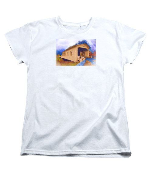 Women's T-Shirt (Standard Cut) featuring the digital art Grave Creek Covered Bridge In Watercolor by Kirt Tisdale