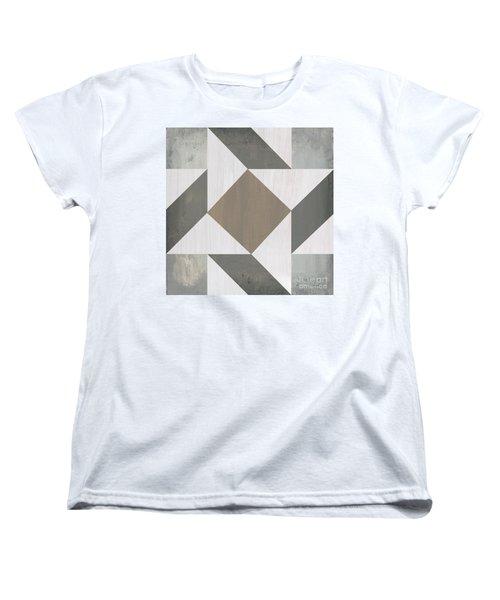 Women's T-Shirt (Standard Cut) featuring the painting Gray Quilt by Debbie DeWitt