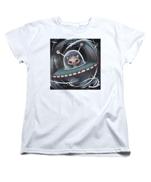 Gray Space Cat Women's T-Shirt (Standard Cut) by Abril Andrade Griffith