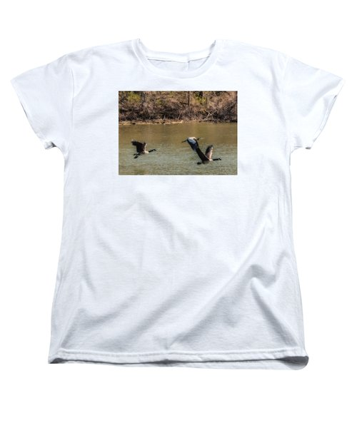 Women's T-Shirt (Standard Cut) featuring the photograph Great Blue Heron And Canada Geese In Flight by Edward Peterson