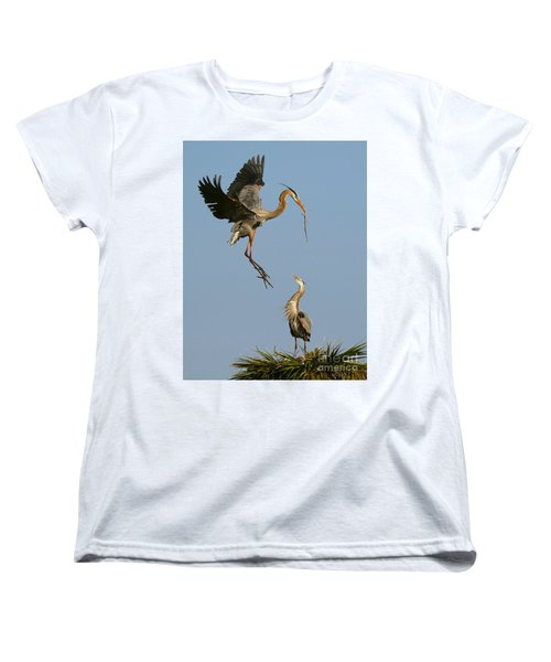Women's T-Shirt (Standard Cut) featuring the photograph Great Blue Heron Dropping In by Myrna Bradshaw