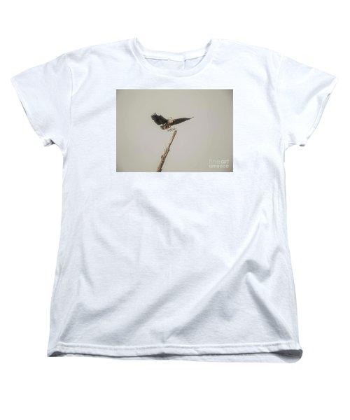Women's T-Shirt (Standard Cut) featuring the photograph Great Blue Heron Landing by David Bearden
