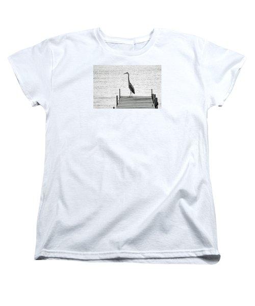 Great Blue Heron On Dock - Keuka Lake - Bw Women's T-Shirt (Standard Cut)