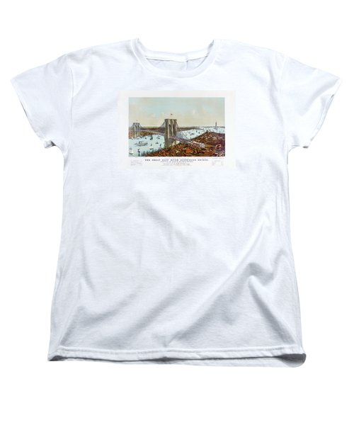 Great East River Suspension Bridge 1892 Women's T-Shirt (Standard Cut) by Carsten Reisinger
