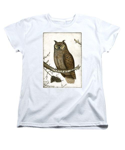 Great Horned Owl Women's T-Shirt (Standard Cut) by Charles Harden