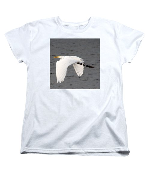 Women's T-Shirt (Standard Cut) featuring the photograph Great White Egret In Flight by Laurel Talabere