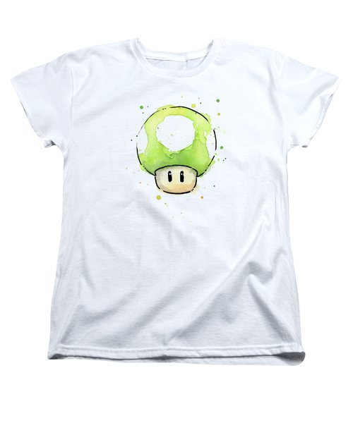 Green 1up Mushroom Women's T-Shirt (Standard Cut) by Olga Shvartsur