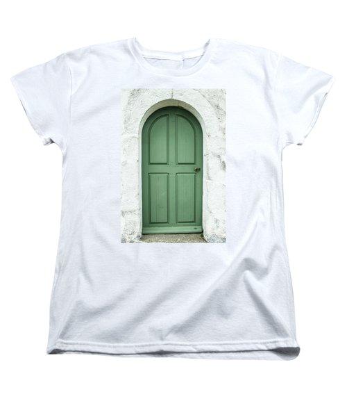 Green Church Door Iv Women's T-Shirt (Standard Cut) by Helen Northcott