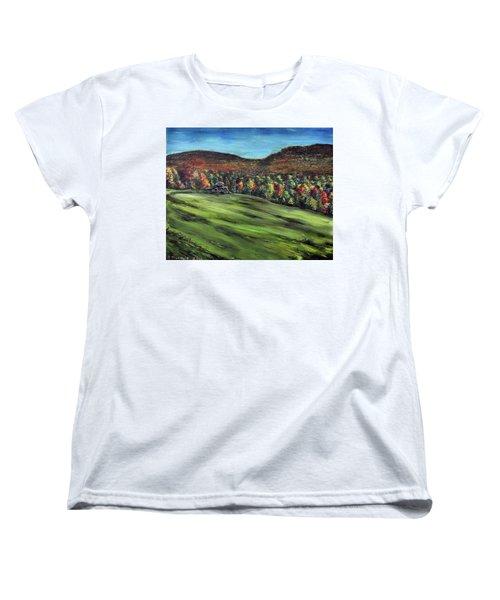 Green Mountain Retreat Women's T-Shirt (Standard Cut) by Denny Morreale