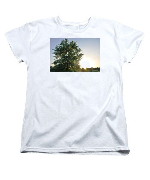 Green Tree Bright Sunshine Background Women's T-Shirt (Standard Cut)