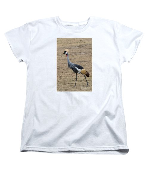 Women's T-Shirt (Standard Cut) featuring the photograph Grey Crowned Crane In The Wild by Pravine Chester