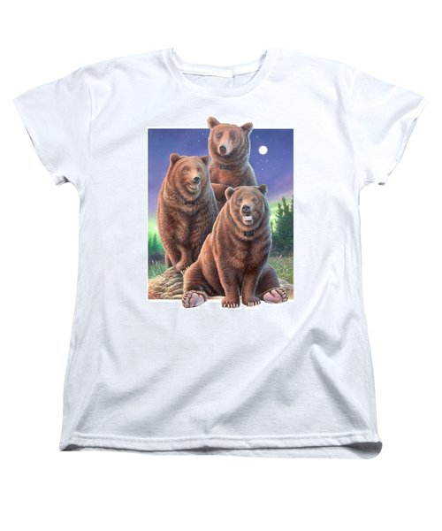 Grizzly Bears In Starry Night Women's T-Shirt (Standard Cut) by Hans Droog