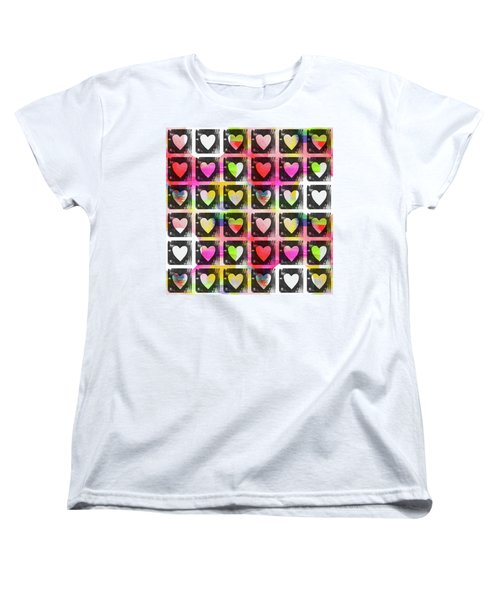 Women's T-Shirt (Standard Cut) featuring the mixed media Groovy Hearts- Art By Linda Woods by Linda Woods