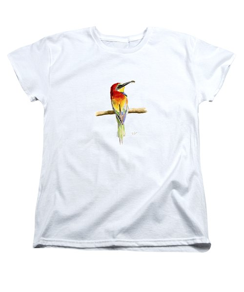 Women's T-Shirt (Standard Cut) featuring the painting Gruccione  - Bee Eater - Merops Apiaster by Raffaella Lunelli