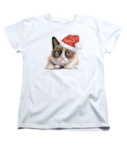 Grumpy Cat As Santa Women's T-Shirt (Standard Cut) by Olga Shvartsur
