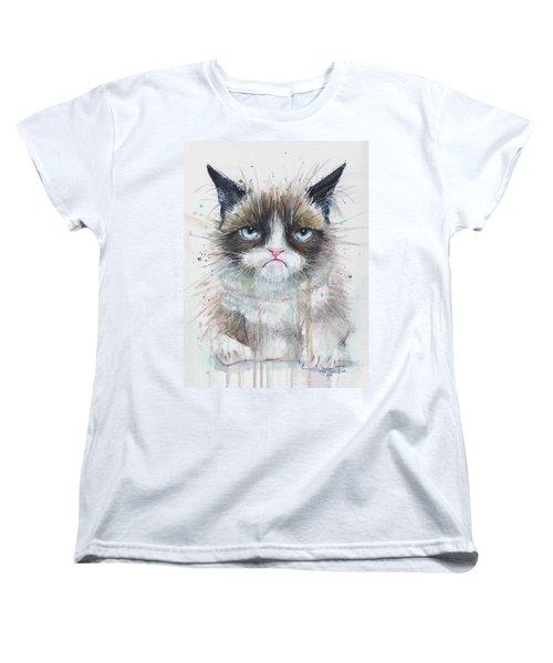 Grumpy Cat Watercolor Painting  Women's T-Shirt (Standard Cut) by Olga Shvartsur