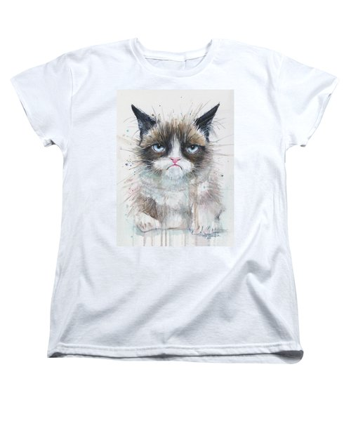 Grumpy Cat Watercolor Painting  Women's T-Shirt (Standard Fit)