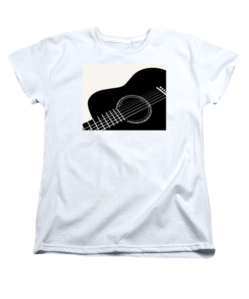 Women's T-Shirt (Standard Cut) featuring the digital art Guitar, Black And White,  by Jana Russon