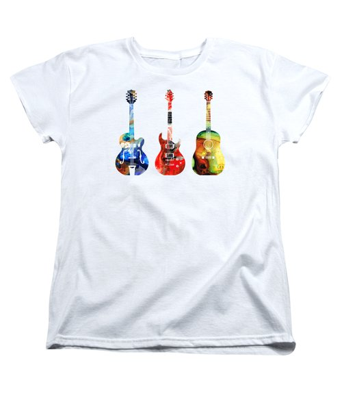 Guitar Threesome - Colorful Guitars By Sharon Cummings Women's T-Shirt (Standard Cut) by Sharon Cummings