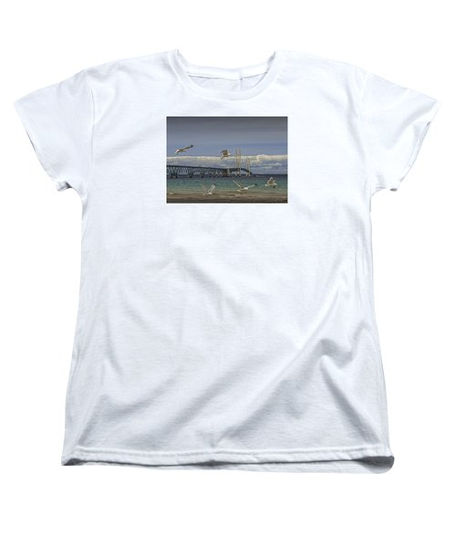Gulls Flying By The Bridge At The Straits Of Mackinac Women's T-Shirt (Standard Cut) by Randall Nyhof