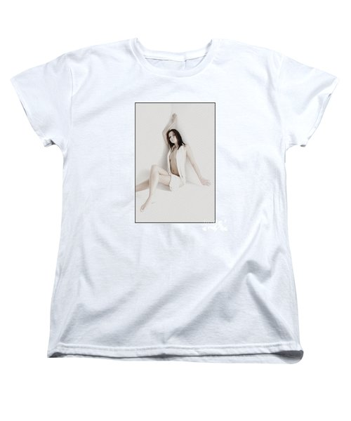 Women's T-Shirt (Standard Cut) featuring the photograph Half Naked Woman Is Studio by Michael Edwards
