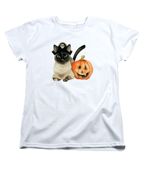 Halloween Siamese Cat With Jack O' Lantern Women's T-Shirt (Standard Fit)