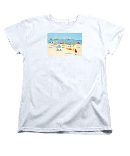 Hampton Beach Umbrellas Women's T-Shirt (Standard Cut) by Jan Matson