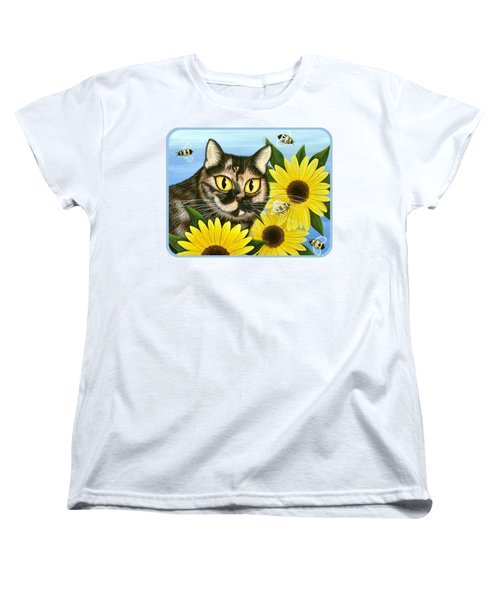 Women's T-Shirt (Standard Cut) featuring the painting Hannah Tortoiseshell Cat Sunflowers by Carrie Hawks