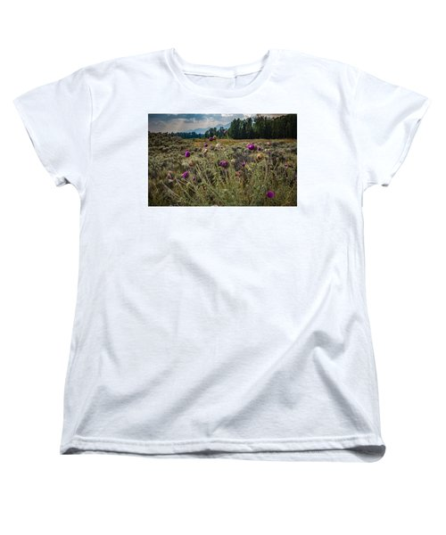 Happier In The Mountains Women's T-Shirt (Standard Cut) by Cathy Donohoue