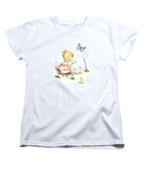 Women's T-Shirt (Standard Cut) featuring the drawing Happiness by Sorin Apostolescu