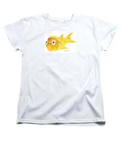 Happy Fish With Glasses Women's T-Shirt (Standard Cut) by Fred Jinkins